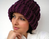 Purple Harmony Knit  Hat  soft Woman  Slouch  Hat  Fashion  3D Texture Fall Winter Accessories