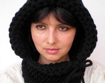 Black Hood Double Spirit  Knit Hood Super soft Mixed    wool Woman Reversible   Hooded Cowl  Chunky Hoodie