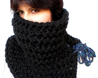 X Black Ivy Cowl Super Soft Wool Neckwarmer Women Fashion Cowl Chunky Texture Cowlneck NEW COLLECTION