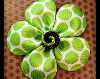 Lime Green and White Polka Dot...5 Petal Flower Hairclip...Girls Hairbows...Baby/Infant Hairbows