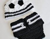 Crochet Pattern - Newborn Soccer Hat and Diaper Cover (Great Photo Prop) - Immediate PDF Download