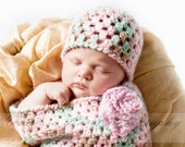 Crochet Pattern - Newborn Bunting Cocoon and Hat (with Optional Flower) - Great Photo Prop - Immediate PDF Download