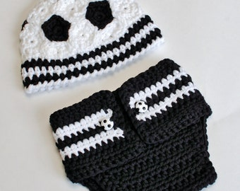 Crochet Pattern - Newborn Soccer Hat and Diaper Cover (Great Photo Prop) - Immediate PDF Download