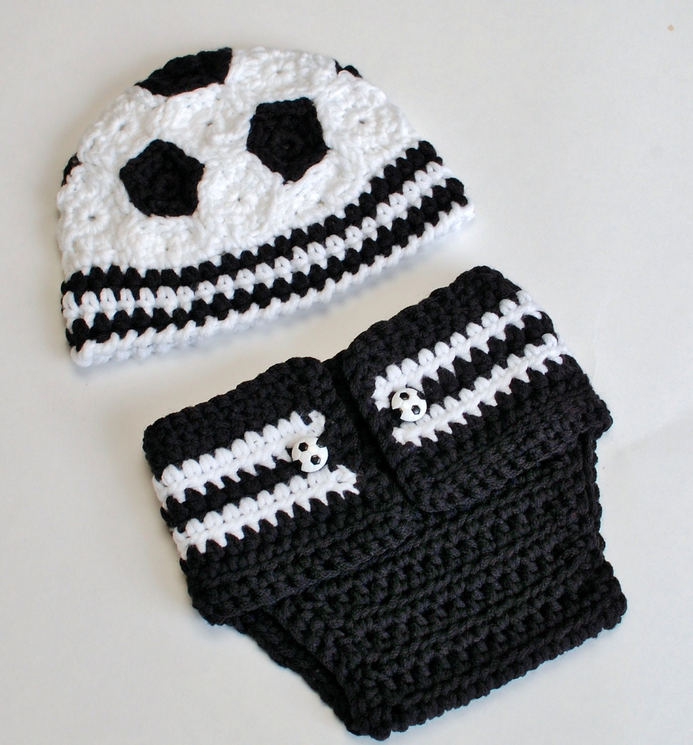 Soccer Ball Knitting Pattern : Crochet Pattern Newborn Soccer Hat and Diaper Cover Great
