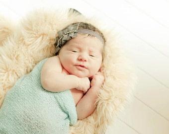 Grey Diamond Ruffle Newborn Headband Newborn Photography Prop