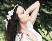 Wedding floral crown in ivory: Fairy