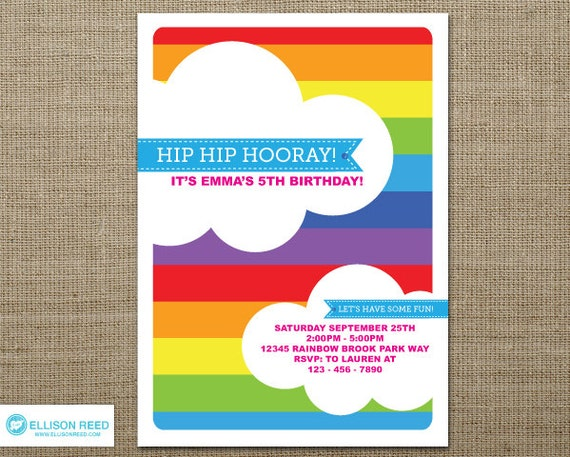 rainbow party invitation template