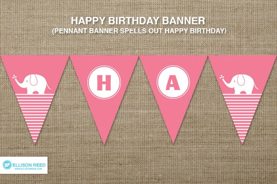items similar to elephant birthday birthday banner
