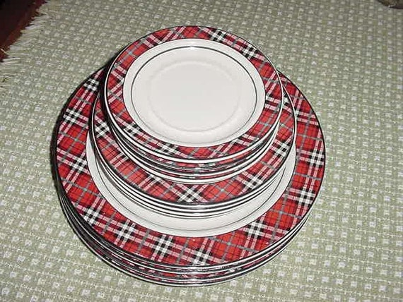 red plaid dinnerware set studio nova