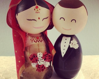 Wedding Cake Topper - Custom made for your wedding - Indian Bride American Groom