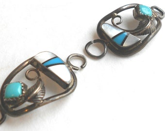 Navajo watch tips- Zuni sterling, turquoise, & inlaid mother of pearl vintage watch band accessory