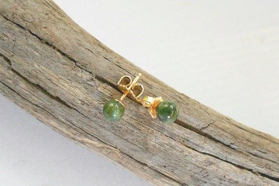 Vintage jade jadeite earrings, 14k yellow gold posts