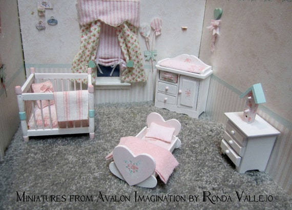 Miniature Dollhouse 1 12 Scale Shabby Chic Nursery Furniture