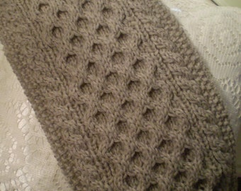 Handmade Cable Knit Scarf from Fisherman's Wool, Honeycomb Pattern