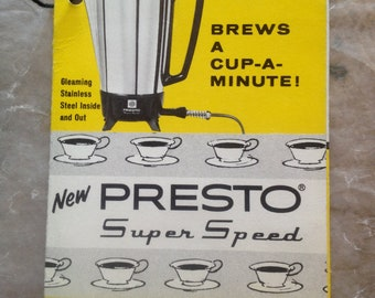 Vintage Presto Coffee Maker Super Speed Instruction Brochure Rare Beauty