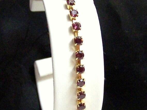 5 Carat Gemstone Bracelet Artisan Altered Gold Filled Genuine Rhodolite Garnet Authentic Vintage Tennis