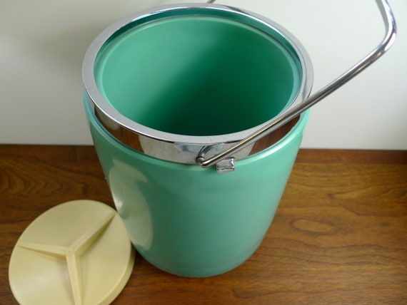 1950's Mint Green and Pale Yellow Ice Bucket Mid Century Modern