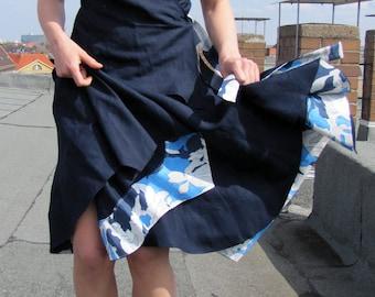 """womens skirt """"Tentakel"""" blue, white,flared skirt"""
