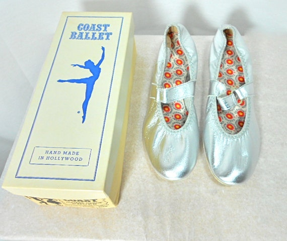 RESERVED LISTING - 1960s Silver Square Dance Shoes Size 9 1/2 - Deadstock