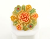 Occupied Japan Celluloid Brooch Hand Painted Flowers Blue Pink Salmon Coral Yellow Vintage 1940s Carved Starburst Floral Jewelry