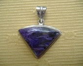 Chariote Sterling Silver Pendant Natural Purple Stone Collectible Rare