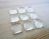 GCF-1020 - Crystal Quartz Faceted Cabochon - 12mm Square Gemstone - AA Quality - 1 Cab