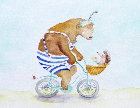 Bicycle Bear Hedgehog Nursery Art Beach swimsuit cycling