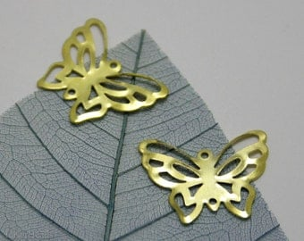SALE Gold Butterfly Connector Beads 16mm (100) Wholesale Pendant Charm Metal Yellow