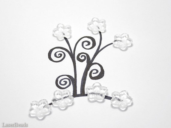 Large Clear Czech Flower Beads 16mm (10) Five Petal Pressed Glass Cap Spring Big