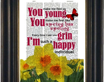 Frank Sinatra You Make Me Feel So Young Song Lyric Print on repurposed Vintage Dictionary Page