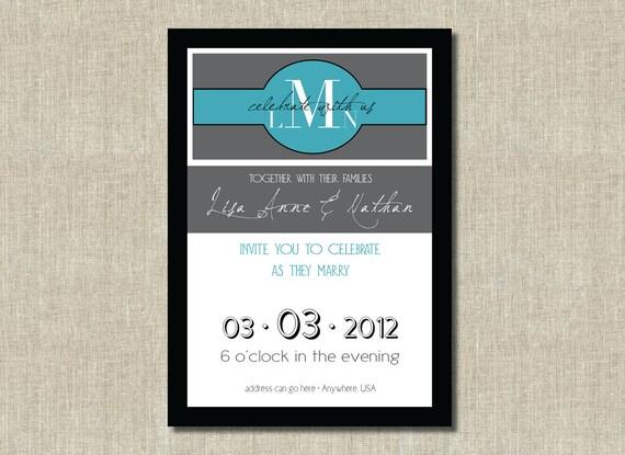 Printable Invitation - Simple Elegant Monogram Invitation - Digital Printable - Custom Color, size