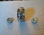 3 Piece Crystal Metal Bead set - Large Bead
