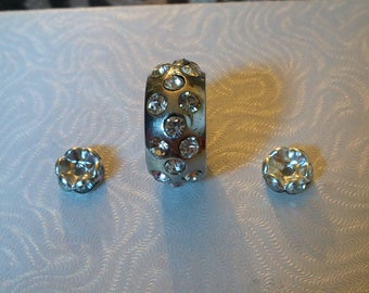 3 Piece Crystal Metal Bead set - Large Bead