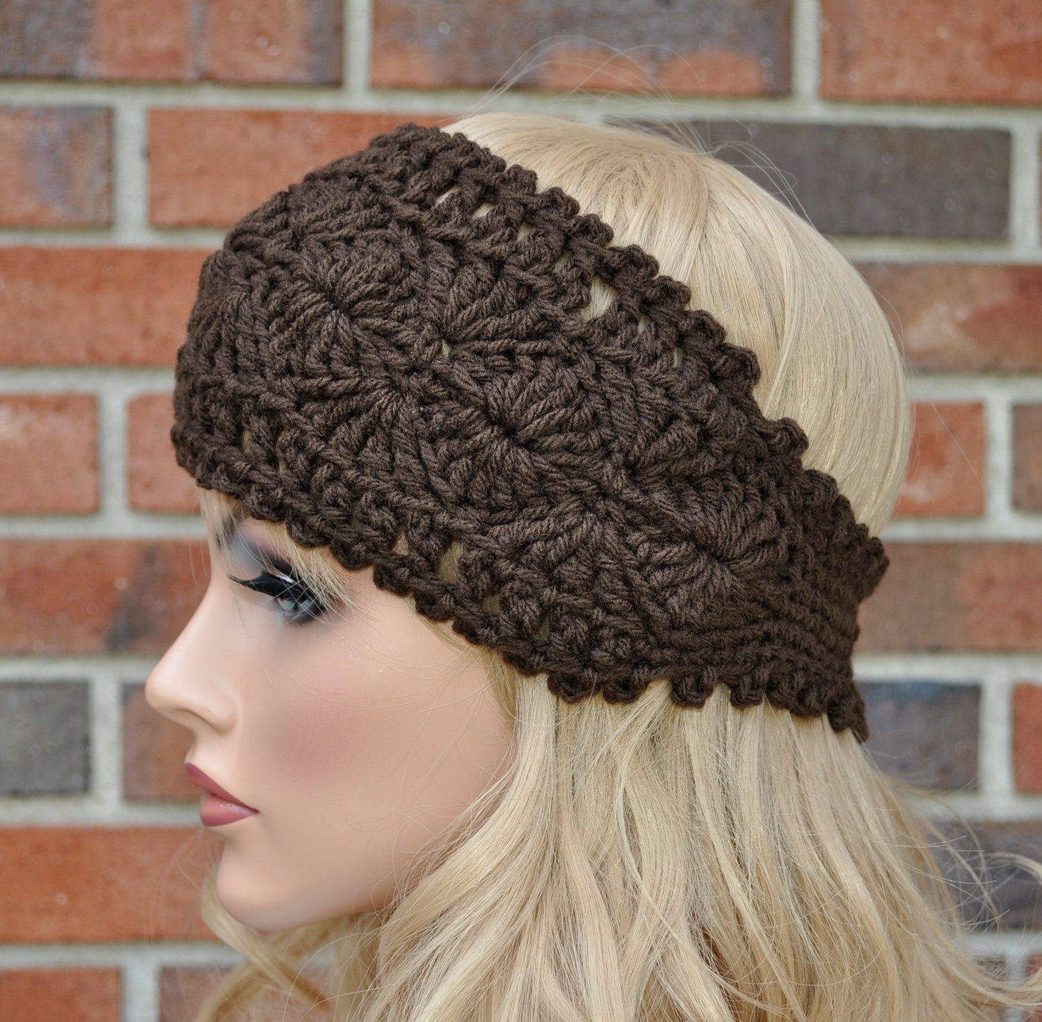 Free Crochet Pattern Headband Ear Warmer Button : Crochet Headwrap Womens Crochet Headband in Chocolate