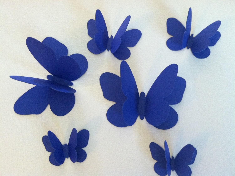 3d farfalle muro sagome di farfalla blu farfalle farfalle for Orologio da muro farfalle