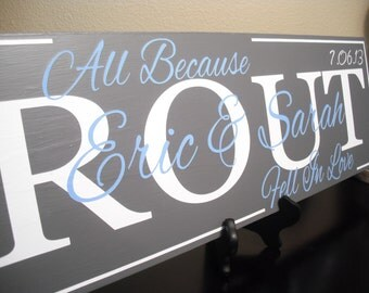 All Because Two People Fell In Love Sign Personalized Family Name Wood Sign Great Wedding Anniversary or Shower Gift 22 x 7