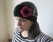 Black Crochet Headband/Ear Warmer with Pink Flower