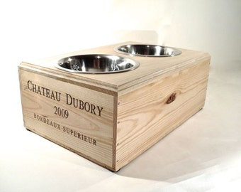 Elevated Dog Feeder- Wine Box Raised Bowls Double