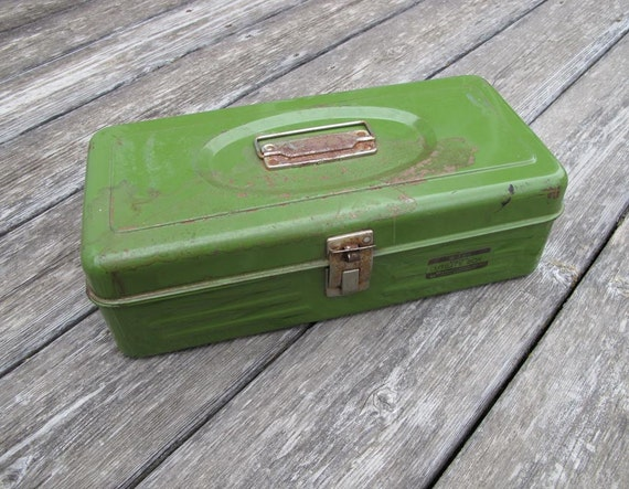 Utility Box Vintage Metal Olive Green Toolbox by Union Manufacturing