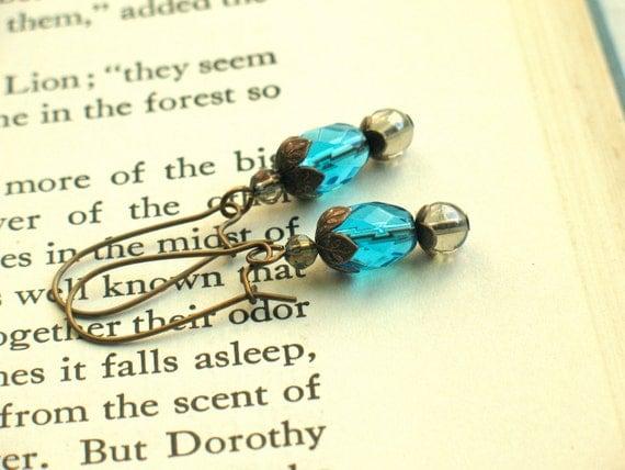 Blue Glass Earrings, brass & sparkle by nancelpancel on etsy