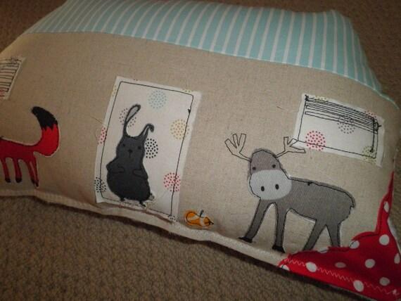 House cushion - pillow, Bunny. Fox, Moose. Minky fabric backing