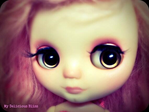 OOAK Middie Blythe Hand Painted Eyechips, Plum Sparkle