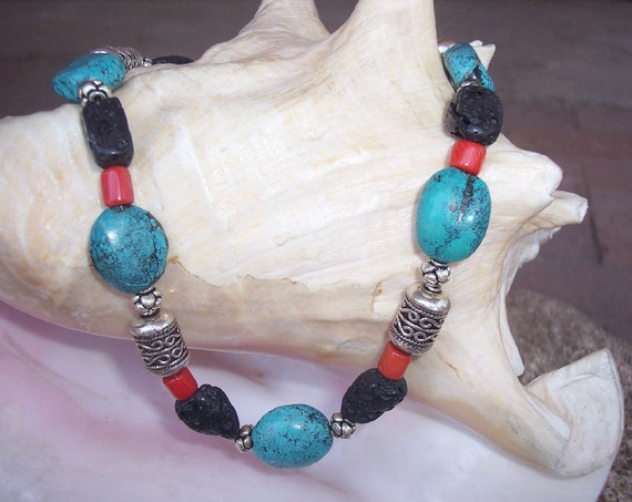 Turquoise, Lava, Sterling Silver and Coral Necklace
