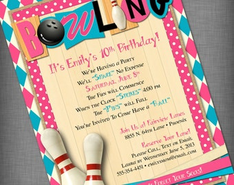 Pink and Aqua Bowling Party Customized Printable Invitation