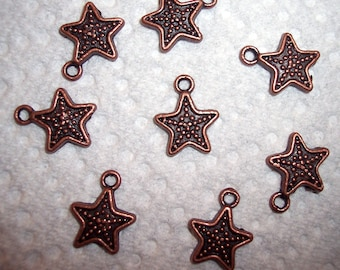 12mm Copper Star Charms - TEN in Package