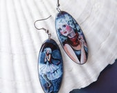 Long earrings with a woman face - navy blue drop style earrings - fashion jewelry