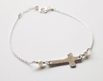 Dainty Hammered Sterling Cross Pearl Bracelet - Pearl Cross Bracelet - Sideways Cross Silver Bracelet - Religious Bracelet