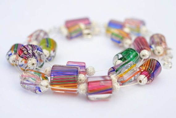 Cane Glass Beaded Convertible Necklace / Bracelet - Cane Glass Beads by David Christensen