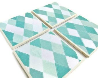 Plaid Coasters - Blue and White Diamonds, Set of 4