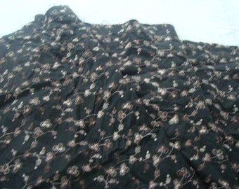 black silky embroideried material